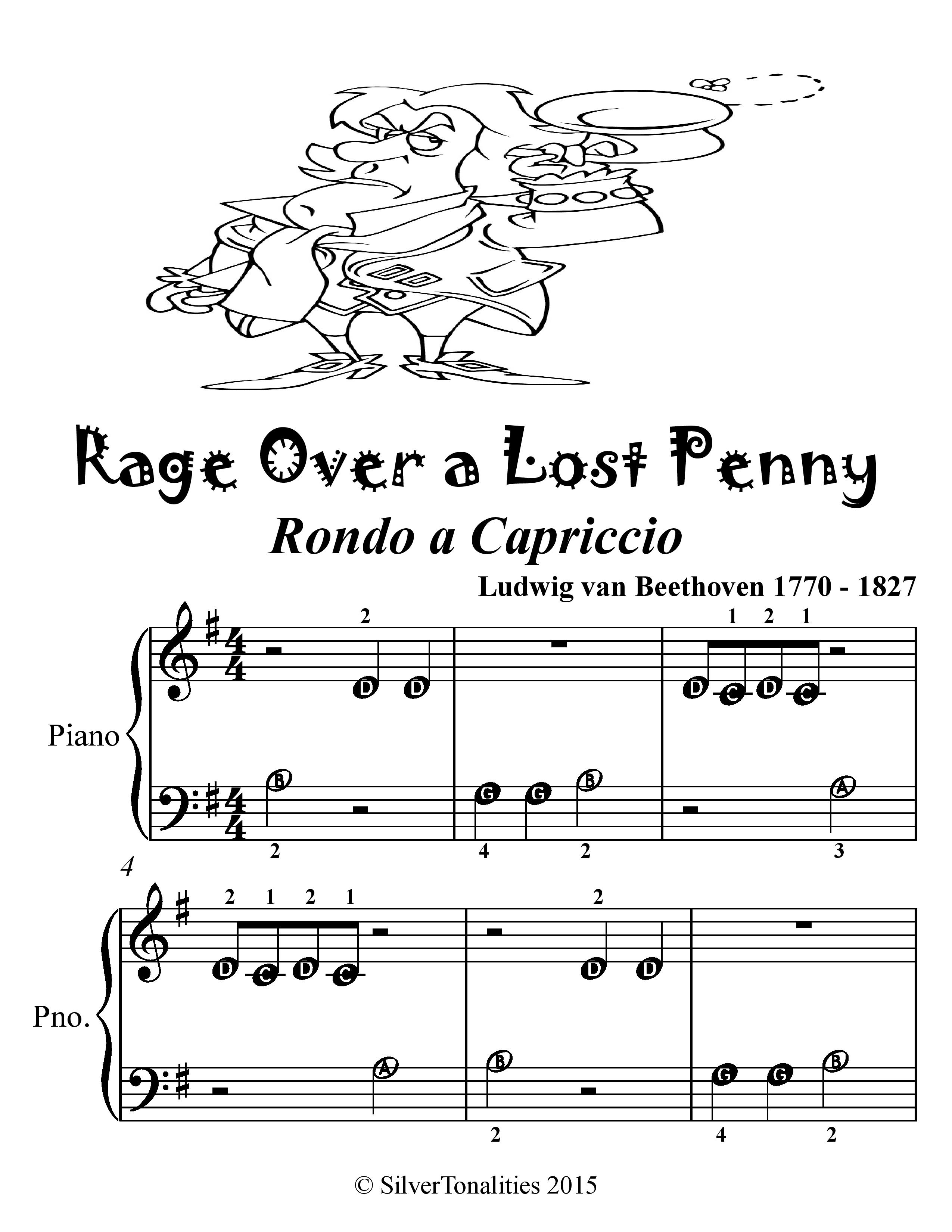 Rage Over A Lost Penny Beginner Piano Sheet Music Tadpole Edition (ebook)